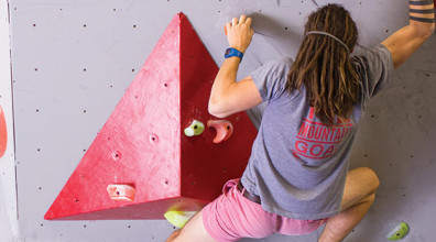 Bouldering at The Mountain Goat indoor climbing gym, Photo by Cam Hill